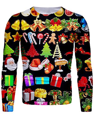 cheap MEN-Men's T shirt 3D Print Graphic 3D Print Long Sleeve Christmas Tops Round Neck Rainbow