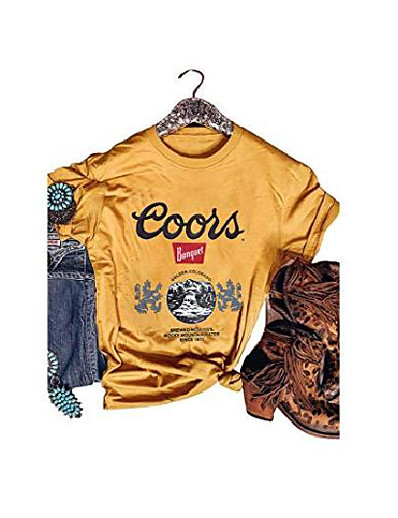 cheap Tees & T Shirts-women coors banquet beer day drinking shirt vintage coors golden colorado lion logo graphic tees (xl, yellow)