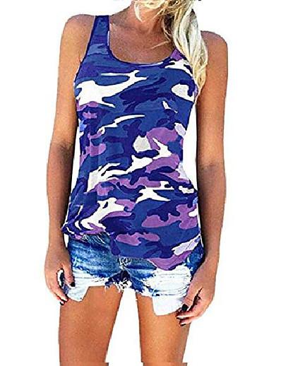abordables NOUVELLE DANS-T-shirts à manches longues pour femmes Casual Camouflage Imprimé O-Neck Tops grande taille (XXL, Violet)
