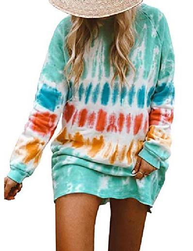 cheap Hoodies & Sweatshirts-womens tie dye long sleeve sweatshirt dress crew neck casual loose dress sky blue xl
