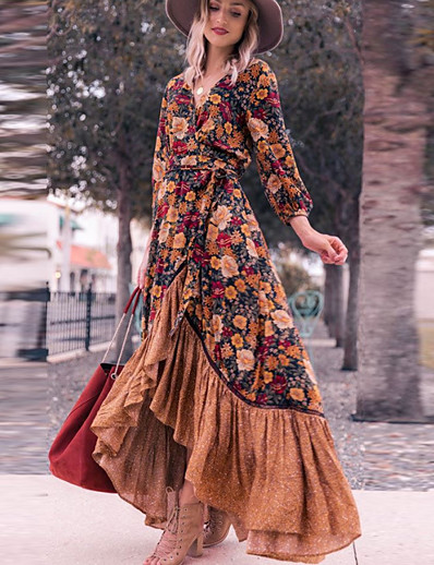 cheap Midi Dresses-Women's Swing Dress Maxi long Dress Rainbow Long Sleeve Floral Split Ruffle Print Fall Spring V Neck Elegant Slim 2021 S M L XL
