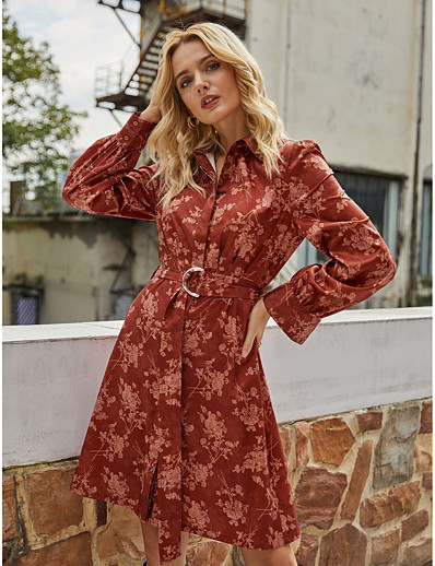 cheap NEW IN-Women's Shirt Dress Knee Length Dress - Long Sleeve Floral Lace up Print Fall Winter Shirt Collar Work Vintage Going out 2020 Red S M L XL