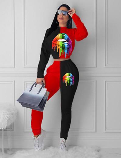 abordables Ensemble deux pièces-Femme Teinture par Nouage Rendez-vous Ensemble deux pièces Sweat à capuche Pantalon Vêtements d'intérieur Patchwork Imprimé Hauts