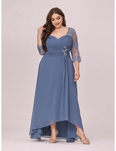 cheap PLUS SIZE-Women's A-Line Dress Midi Dress 3/4 Length Sleeve Solid Color Lace Fall Spring Plus Size Elegant Formal 2021 Dusty Blue 4XL 5XL 6XL 7XL