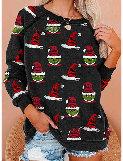 cheap CHRISTMAS-Women's Daily Pullover Sweatshirt Cartoon Oversized Casual Hoodies Sweatshirts  Cotton Loose Black
