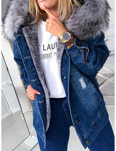 cheap Jackets-Women's Single Breasted Jacket Regular Solid Colored Daily Streetwear Black Blue Grey Light Blue S M L XL