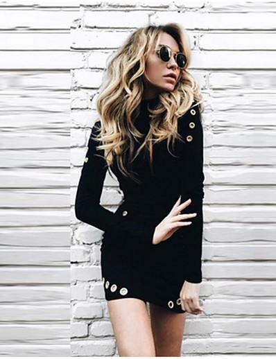 abordables Mini Robes-Femme Robe Pull Mini robe Courte - Manches Longues Couleur unie Patchwork Bouton Automne Col Roulé Simple Coton Mince 2020 Noir S M L XL XXL