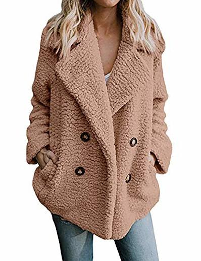 abordables Blazers Femme-veste décontractée pour femmes hiver tops chauds parka outwear manteau dames pardessus outercoat kaki