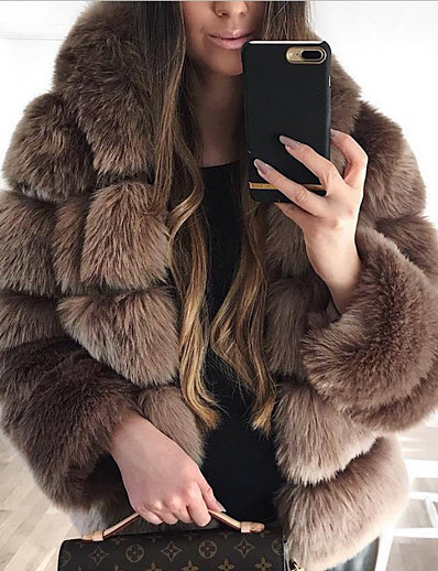 cheap NEW IN-Women's Fall & Winter Open Front Coat Long Solid Colored Daily Active Patchwork Faux Fur White Black Red Blushing Pink S M L XL / Loose