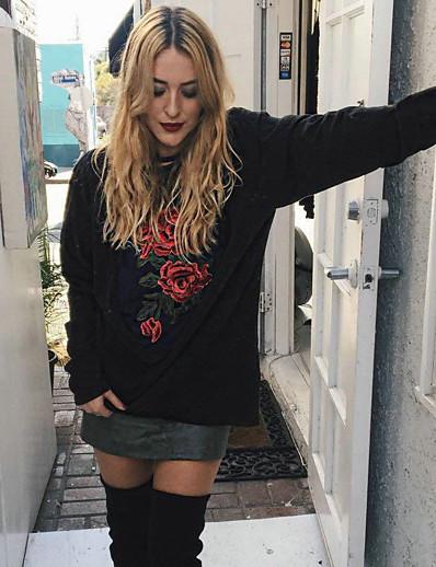cheap Hoodies & Sweatshirts-Women's Pullover Sweatshirt Floral Print Daily Basic Hoodies Sweatshirts  Cotton Loose Black