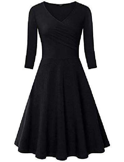 abordables NOUVELLE DANS-Robes à col en V croisé pour femmes à manches 3/4 Robe trapèze évasée (noir, petit)