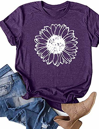 cheap NEW IN-sunflower shirts for women plus size faith tops summer short sleeve loose casual t shirt junior teen girls graphic tees purple
