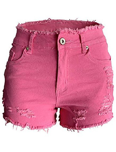 cheap Women's Shorts-womens denim shorts frayed stretch butt lift juniors distressed cutoff jeans shorts pink us 14-16