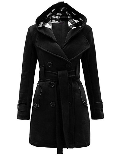 cheap Coats & Trench Coats-Women's Fall & Winter Double Breasted Coat Long Plaid Daily Basic Cotton Black Purple Red Wine S M L XL
