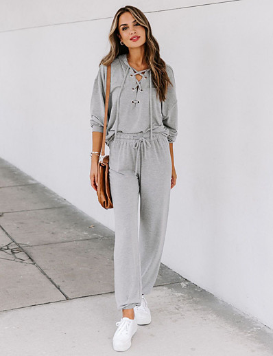 cheap JUMPSUITS & ROMPERS-Women's Home Cotton Blend Normal T-shirt Pant Hooded Suits Long Sleeve Drawstring Fall & Winter Solid Colored S Gray