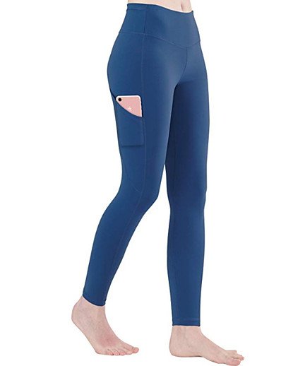 cheap Running, Jogging & Walking-Women's Street Running Tights Leggings Compression Pants Bottoms with Phone Pocket Fitness Gym Workout Running Jogging Training Winter Butt Lift Breathable Soft Sport Solid Colored Dark Navy Black
