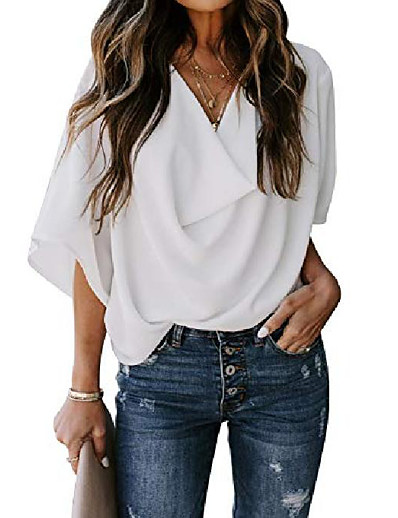 cheap Blouses & Shirts-womens blouses and tops casual summer wrap v neck shirts fashion 2020 loose tops white large