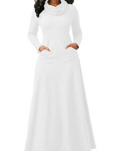 cheap DRESSES-Women's Sheath Dress Maxi long Dress - Long Sleeve Solid Color Patchwork Fall Turtleneck Casual 2020 White Black Blue Wine Green Brown Gray S M L XL XXL 3XL 4XL 5XL