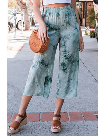 cheap Bottoms-Women's Breathable Loose Casual Wide Leg Pants Tie Dye Full Length Blue Blushing Pink Green