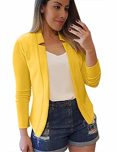 abordables Blazers Femme-cardigan de costume professionnel décontracté pour femmes couleur unie à manches longues poche vêtements d'extérieur trench slim jaune