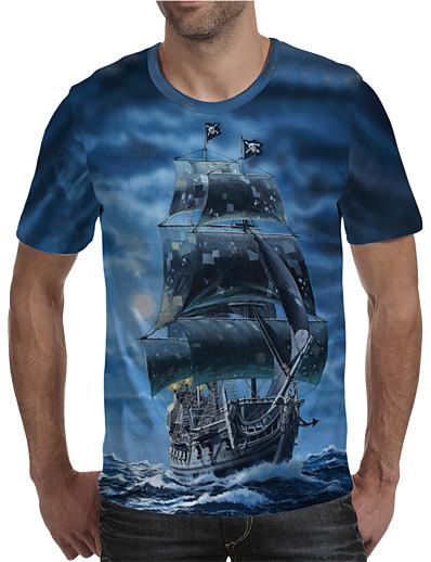 cheap Men's 3D-Men's T shirt Shirt 3D Print Graphic Plus Size Print Short Sleeve Daily Tops Elegant Exaggerated Round Neck Blue
