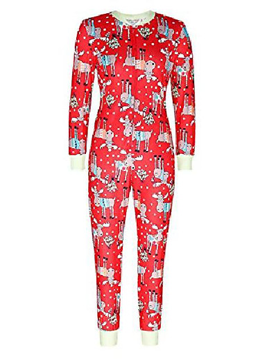 cheap Family Matching Pajamas Sets-women christmas reindeer pajamas casual sleepwear jumpsuits rompers red l