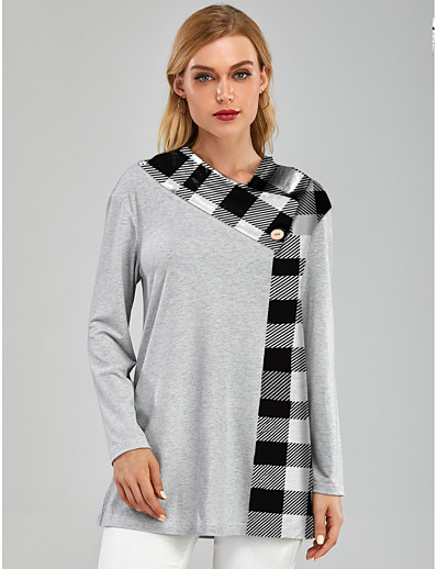 cheap TOPS-Women's Tunic Color Block Plaid Long Sleeve Patchwork Print Round Neck Tops Basic Top Gray