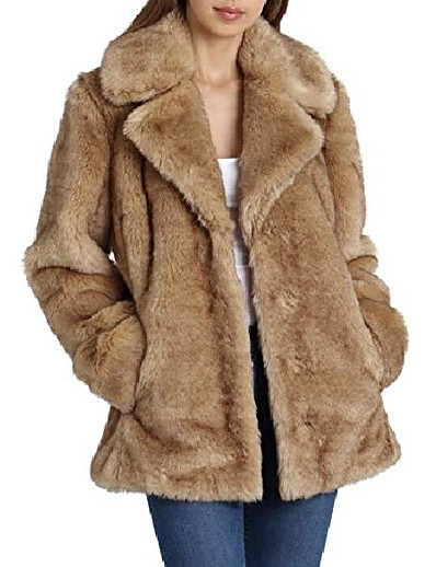 cheap OUTERWEAR-women's faux fur mid length coat with notch collars, natural, medium