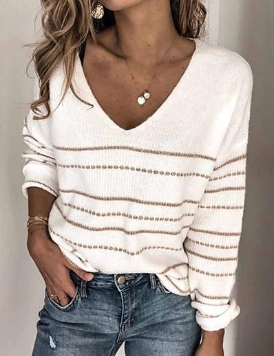cheap Sweaters & Cardigans-Women's Basic Knitted Solid Color Pullover Long Sleeve Sweater Cardigans V Neck Fall White Black Blushing Pink