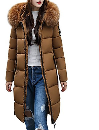 cheap Down& Parkas-women's solid casual thicker winter slim down knee length jacket coat overcoat(coffee,xl)