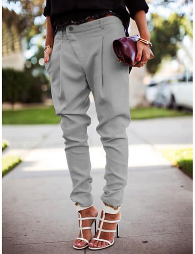 abordables Pantalons Femme-Femme Chic de Rue Grandes Tailles Jogger Pantalon Couleur Pleine Blanche Noir Bleu
