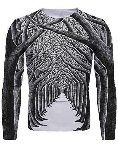 cheap NEW IN-Men's 3D Graphic T-shirt Print Long Sleeve Christmas Tops Round Neck Dark Gray