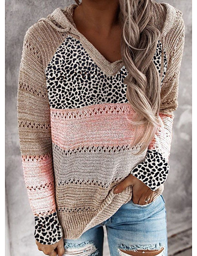 cheap Exclusive-Women's Knitted Color Block Leopard Pullover Long Sleeve Sweater Cardigans Hooded Fall Winter Black Red Wine