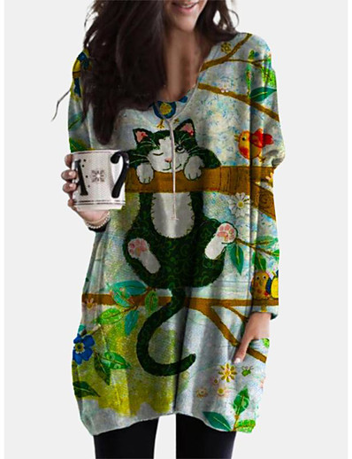 cheap Mini Dresses-Women's Shift Dress Short Mini Dress - Long Sleeve Print Animal Patchwork Print Spring Fall Casual Boho Cotton 2020 Green L XL XXL 3XL 4XL 5XL