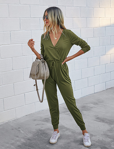 cheap Jumpsuits & Rompers-Women's Basic Streetwear Deep V Black Wine Army Green Romper Color Block Solid Colored Patchwork