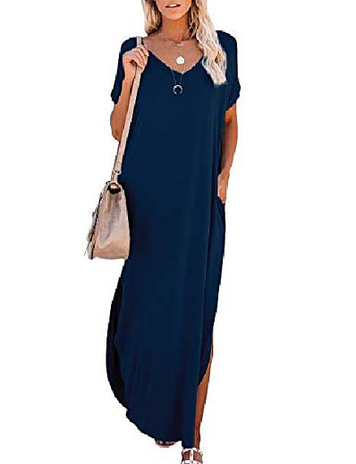 cheap Dresses-Women's T Shirt Dress Tee Dress Maxi long Dress Wine Red ArmyGreen Color blue White Black Light Gray Dark Gray Navy Blue Short Sleeve Solid Color Split Spring Summer Casual 2021 S M L XL 2XL 3XL 4XL