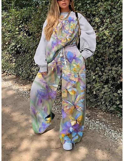 cheap JUMPSUITS & ROMPERS-Women's Print Two Piece Set Sweatshirt Pant Loungewear Print Drawstring Tops / Loose