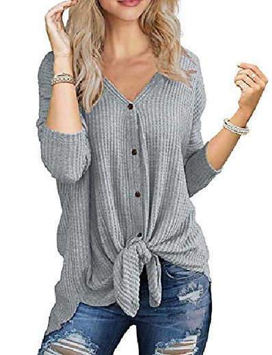 cheap NEW IN-womens waffle knit shirt casual tie front knot button up plain henley tank tops burgundy