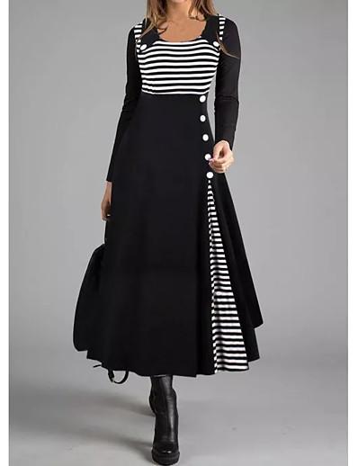 cheap Clearance-Women's Shift Dress Maxi long Dress - Long Sleeve Striped Button Fall Winter Square Neck Casual 2020 Black M L XL XXL 3XL