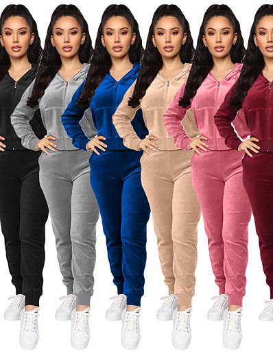 cheap NEW IN-Women's 2-Piece Full Zip Tracksuit Sweatsuit Street Athleisure Long Sleeve Velour Windproof Breathable Soft Yoga Fitness Gym Workout Running Jogging Sportswear Solid Colored Outfit Set Clothing Suit