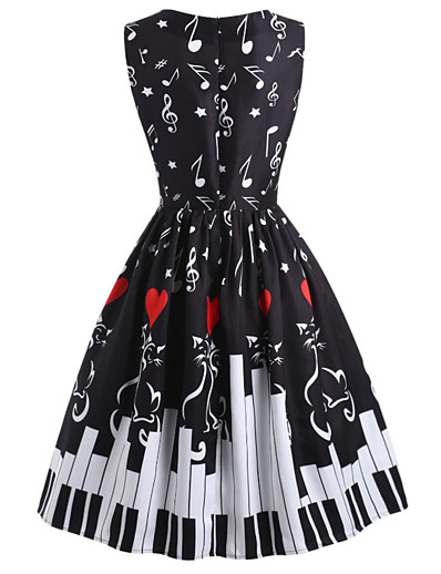 cheap Knee-Length Dresses-Women's A-Line Dress Knee Length Dress - Sleeveless Print Print Fall Vintage Christmas 2020 Black S M L XL XXL
