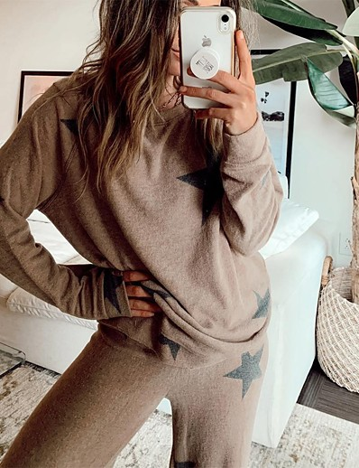 cheap AT HOME-Women's Daily Cotton Blend Normal Blouse Pant Pajamas Crew Neck Loungewear Long Sleeve Lace up Spring & Summer Necklace Not Included Star S Khaki