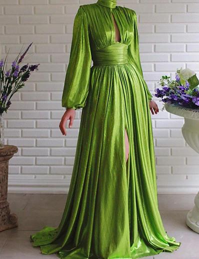 abordables Robes Maxi-Femme Robe Évasée Robe Maxi longue - Manches Longues Couleur unie Patchwork Automne Col en V Elégant Sexy Soirée 2020 Vert S M L XL XXL 3XL