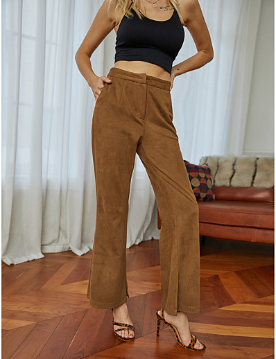 cheap Bottoms-Women's Basic Comfort Loose Daily Casual Wide Leg Pants Pattern Solid Colored Full Length High Waist Brown