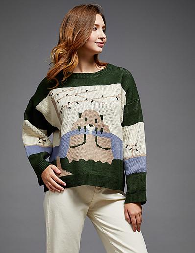 abordables NOUVELLE DANS-pull colour block pour femme à manches longues pull ample cardigans col rond automne vert