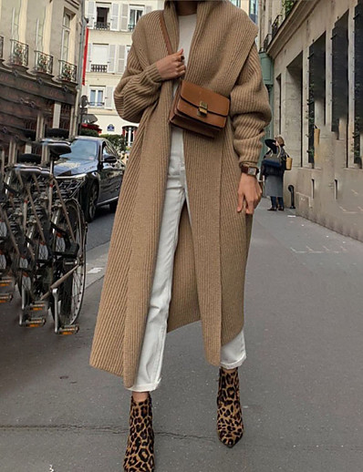 cheap Sweaters & Cardigans-Women's Fall & Winter Coat Long Solid Colored Daily Basic Camel S M L XL