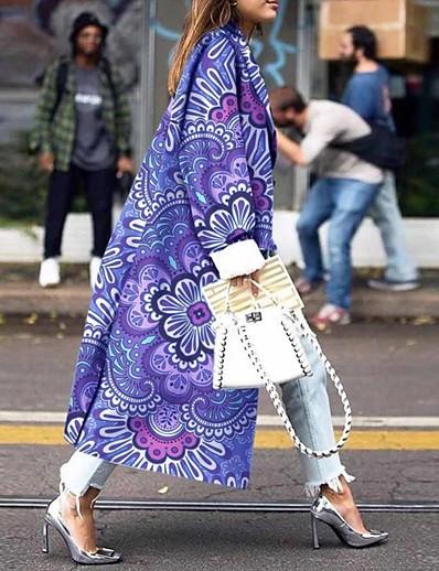 abordables Manteaux & Vestes Grandes Tailles Femme-Femme Double Boutonnage Manteau Longue Imprimé Quotidien Grandes Tailles Imprimé Noir Bleu Rouge Jaune S M L XL / Ample