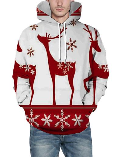 cheap NEW IN-Men's Pullover Hoodie Sweatshirt 3D Graphic Reindeer Hooded Christmas Christmas Hoodies Sweatshirts  Long Sleeve Wine
