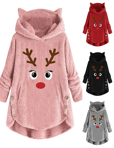 cheap Christmas Sweater-womens fleece hoodie pullover autumn winter plush warm cat embroidery plus size hooded tops button sweater