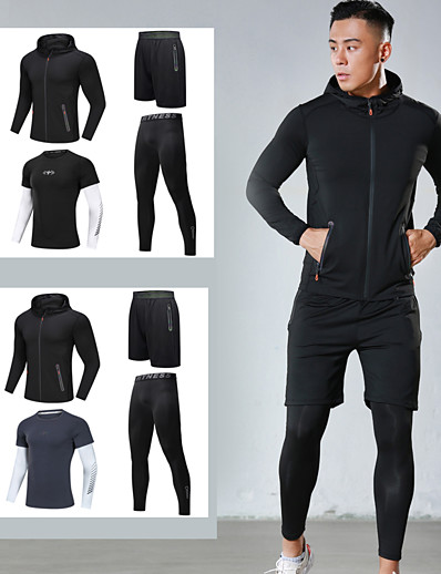 cheap Running, Jogging & Walking-Men's Full Zip Activewear Set Athletic Athleisure 4pcs Winter Long Sleeve Elastane Moisture Wicking Quick Dry Breathable Fitness Gym Workout Running Active Training Jogging Sportswear Solid Colored